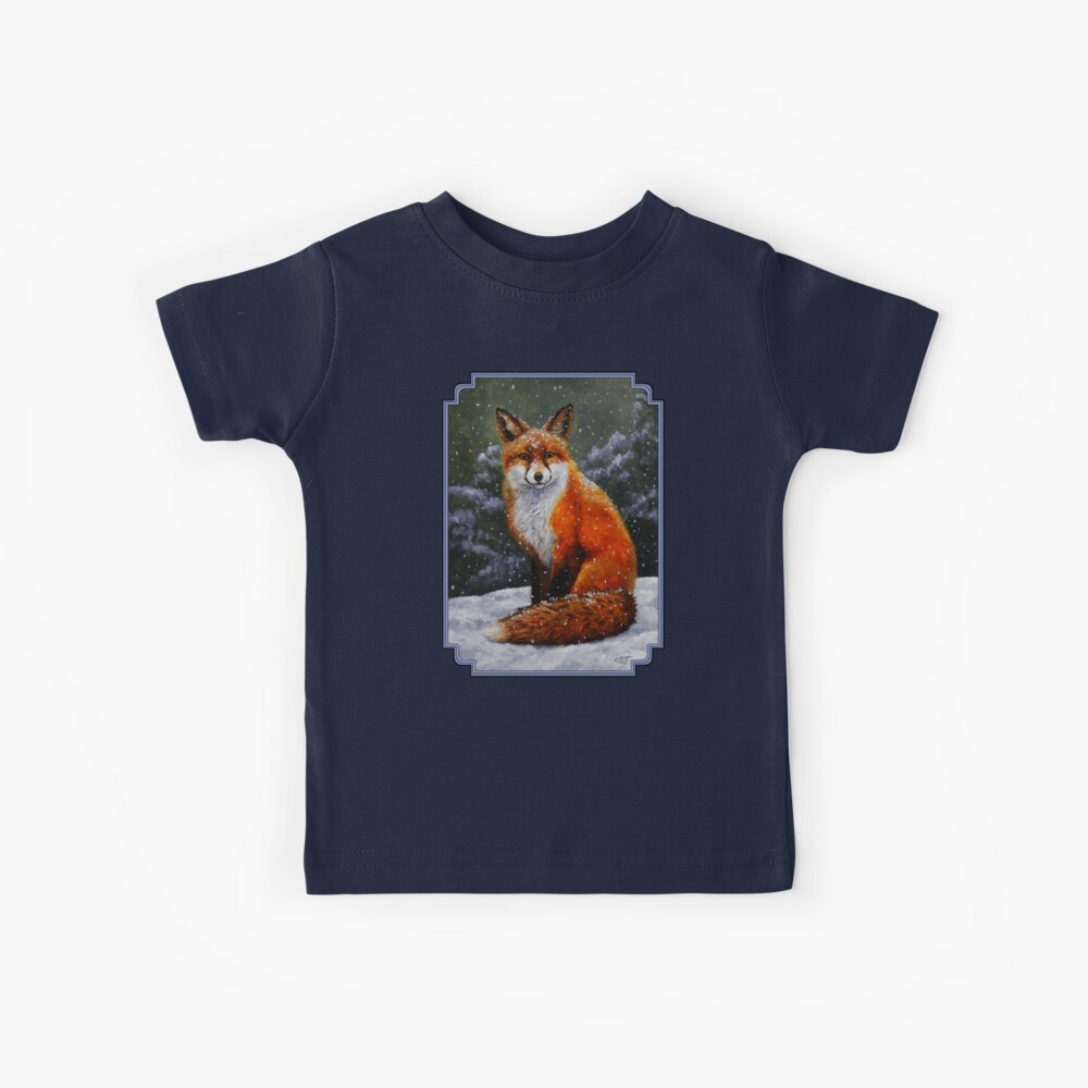 Roter Fuchs im Schnee Kinder T-Shirt
