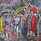 Connect Deeply. Magical Watercolor Unicorn Illustration. by mellierosetest