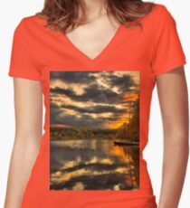 Colorful lake Waban Women's Fitted V-Neck T-Shirt