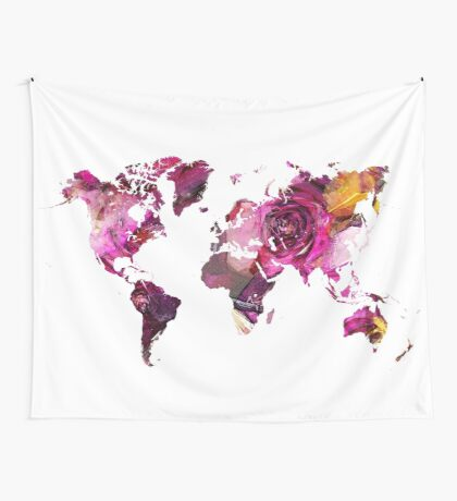 World Map roses Wall Tapestry