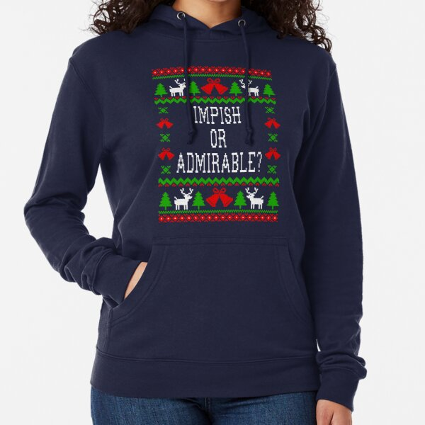 Impish Or Admirable - The Office Dwight Schrute Quote - Ugly Sweatshirt Christmas Style Lightweight Hoodie