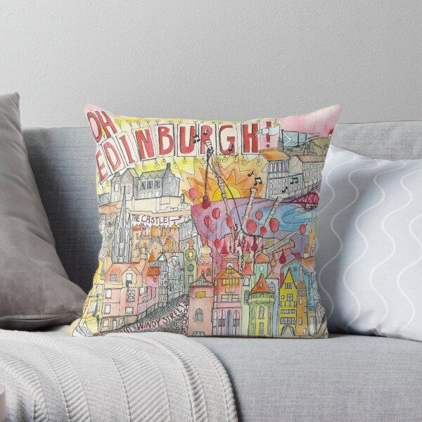Illustrated Map drawing of Edinburgh Throw Pillow