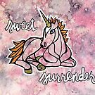 Sweet Surrender. Magical Unicorn Watercolor Illustration. by mellierosetest