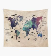 World Map Oceans Wall Tapestry