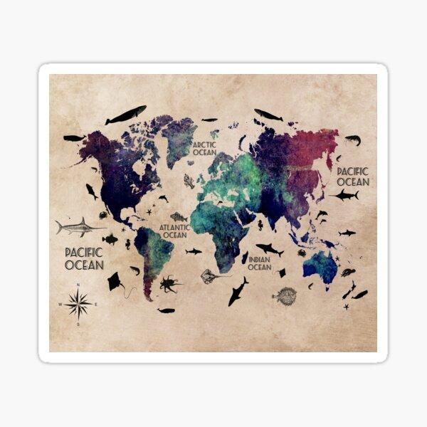World Map Oceans #map #worldmap Sticker