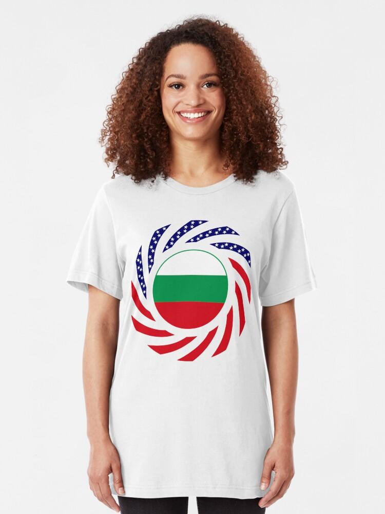 Alternate view of Bulgarian American Multinational Patriot Flag Series Slim Fit T-Shirt