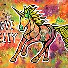 Move Freely. Magical Unicorn Watercolor Illustration by mellierosetest