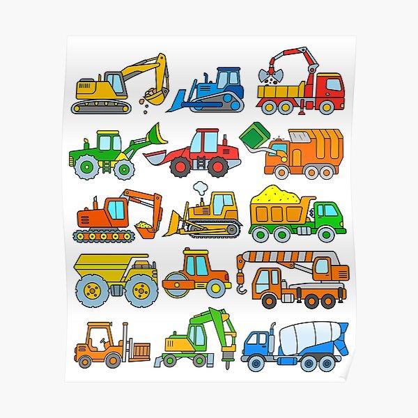 Construction Vehicles Construction Machinery Excavator Trucks Poster