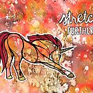 Stretch Further. Magical Unicorn Watercolor Illustration. by mellierosetest