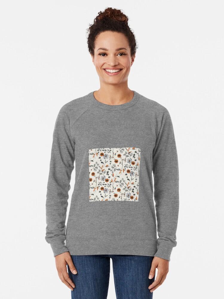 Alternative Ansicht von Orange Blumenmuster Leichter Pullover