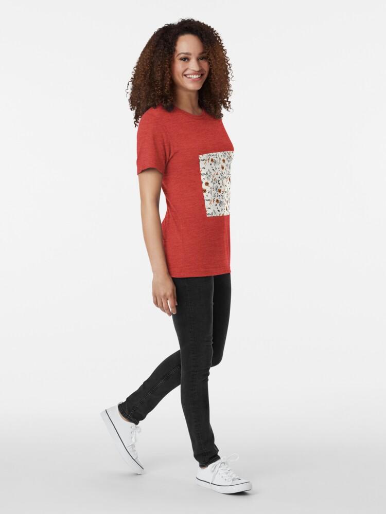 Alternative Ansicht von Orange Blumenmuster Vintage T-Shirt