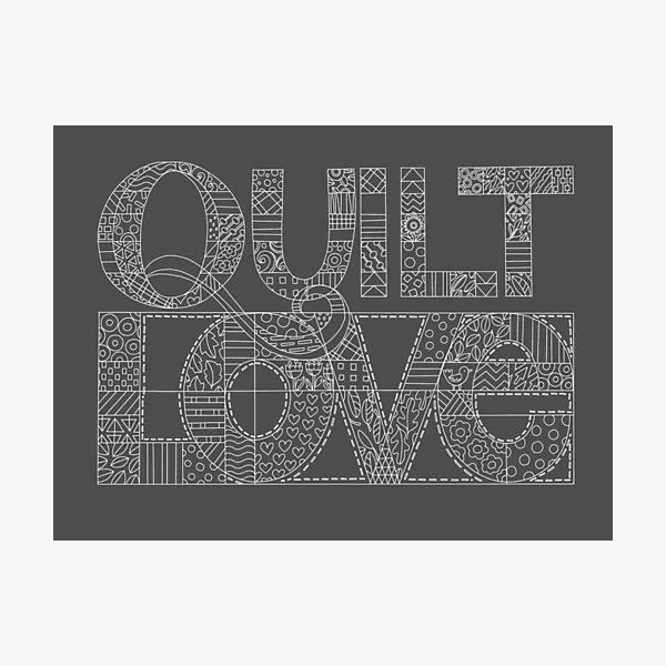 Quilt Love line drawing illustration Photographic Print