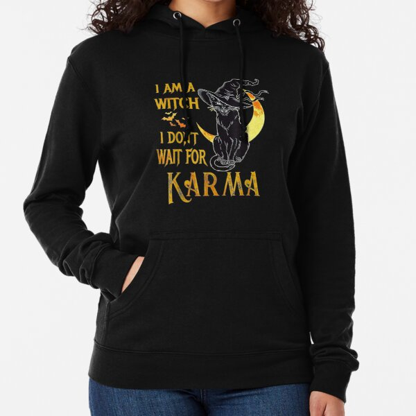 Am Witch Don Wait For Karma Halloween Black Cat Lightweight Hoodie