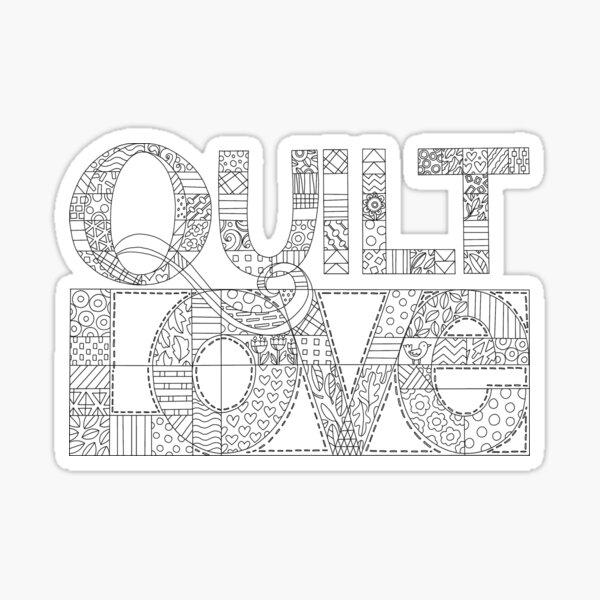 Quilt Love line illustration black and white Sticker