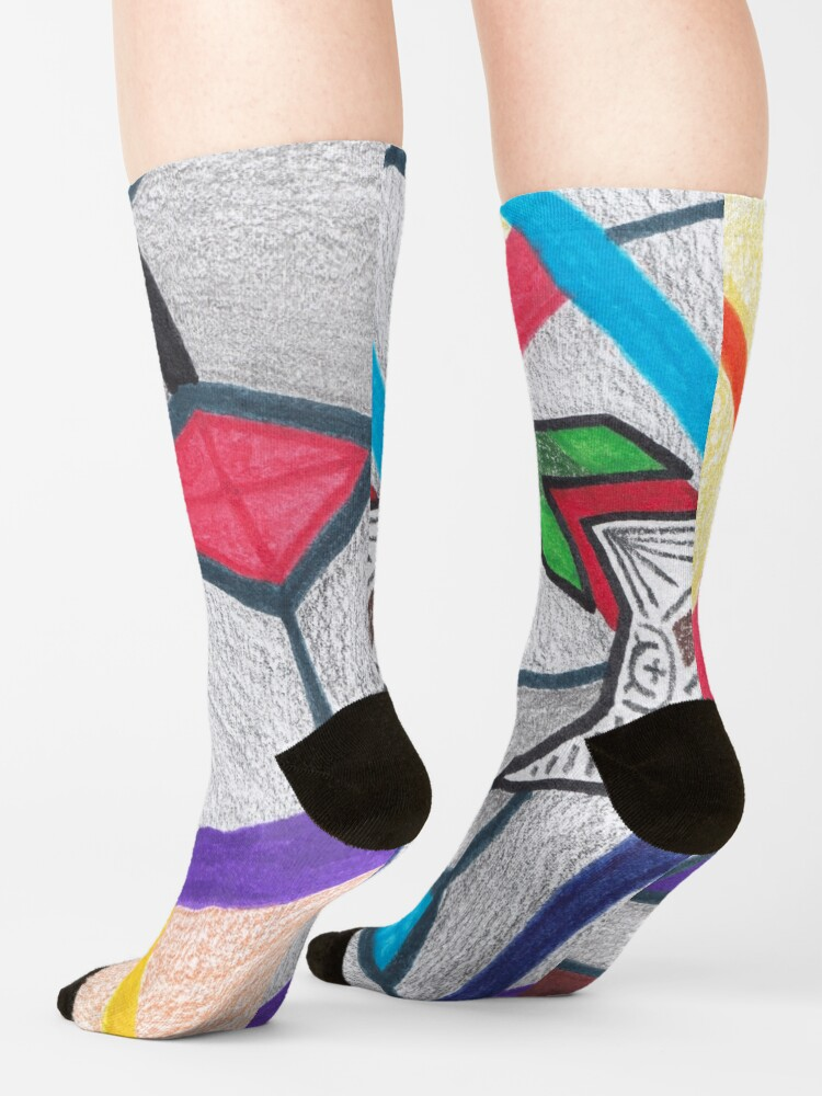 Alternate view of M.I. #8  ☽  Glass Stained Abstract Pane. Socks