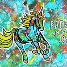 Race into Joy. Magical Watercolor Unicorn Illustration. by mellierosetest