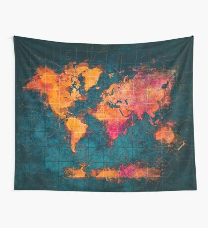 world map art series Wall Tapestry