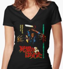 They got up on the wrong side of the grave. Women's Fitted V-Neck T-Shirt