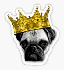PUGS 4 LIFE! King Top Dog w/ Crown Funny K-9 PUGLIFE PUG LIFE Sticker