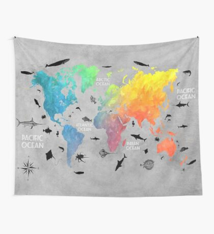 Map of the world grey Wall Tapestry