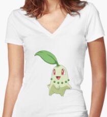 Chikorita Grass Second Generation Starter Pokemon Women's Fitted V-Neck T-Shirt