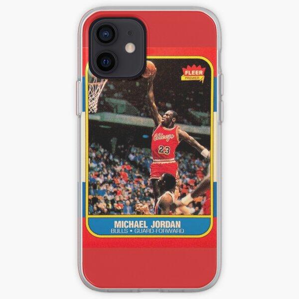 Michael Jordan Chicago Bulls NBA Carte de recrue de basketball Coque souple iPhone