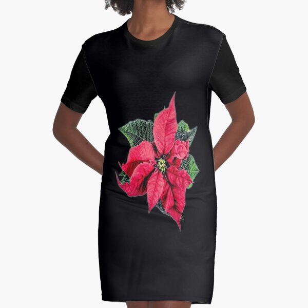 poinsettia T-shirt Graphic T-Shirt Dress