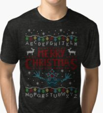 MERRY CHRISTMAS FROM THE UPSIDE DOWN! Tri-blend T-Shirt