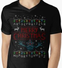 MERRY CHRISTMAS FROM THE UPSIDE DOWN! Men's V-Neck T-Shirt
