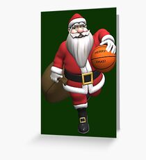 Santa Claus Basketball Player Greeting Card