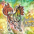 Feel the Wind. Magical Unicorn Watercolor Illustration. by mellierosetest