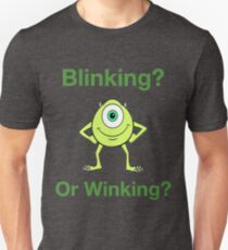 Camiseta unisex Mike Wazowski - Parpadeando o guiñando un ojo - Lindo diseño de texto