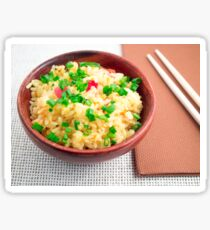 Wooden bowl of cooked rice and leek Sticker