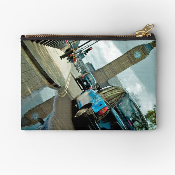 Big Ben in Puddle with Black Cab Zipper Pouch