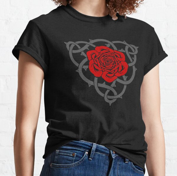 Celtic Irish Knotwork Red Rose with Grey Vines and Thorns Classic T-Shirt
