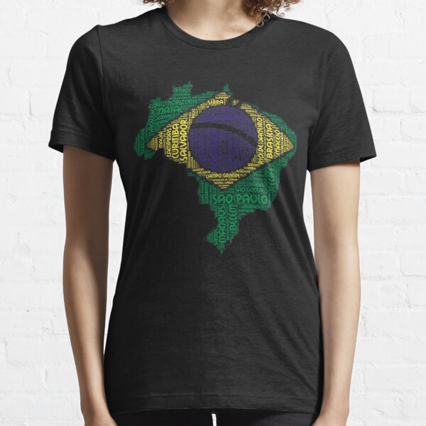 Love Brazil Brazilian Flag Colors With Cities Graphical Design Essential T-Shirt