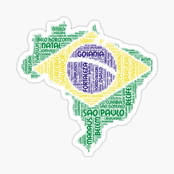 Love Brazil Brazilian Flag Colors With Cities Graphical Design Sticker