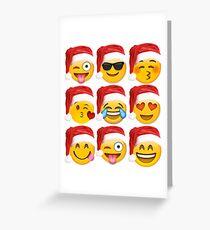 Christmas Emoji Shirt 9 Emoji Faces Wearing Santa Hats Greeting Card