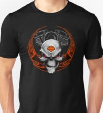 Orange Flames with Skull & Engine T-Shirt