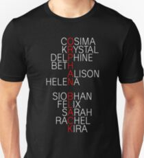 Orphan Black - names (white) Unisex T-Shirt