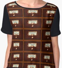 Retro Library Card Catalog Drawers with Author Names Women's Chiffon Top