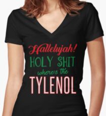 Where's The Tylenol Women's Fitted V-Neck T-Shirt