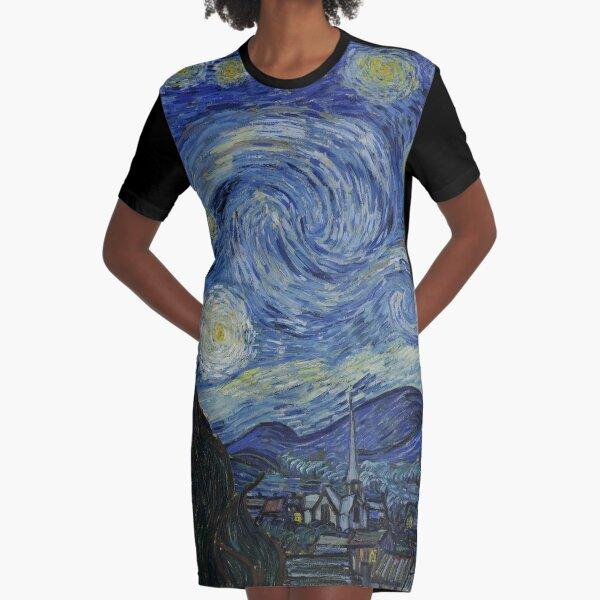 Starry Night (Vincent van Gogh) Graphic T-Shirt Dress