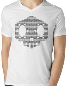 Sombra ASCII Skull Black Mens V-Neck T-Shirt