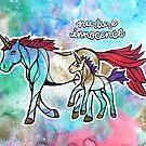 Nurture Innocence. Magical Watercolor Unicorn Illustration by mellierosetest