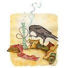 Crow with Hookah by HAJRA MEEKS
