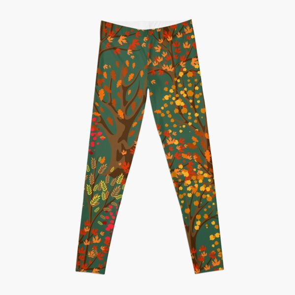 Fall Autumn Pattern- Forest Trees Red Orange Yellow Leaves, Fall Leaves Print Leggings
