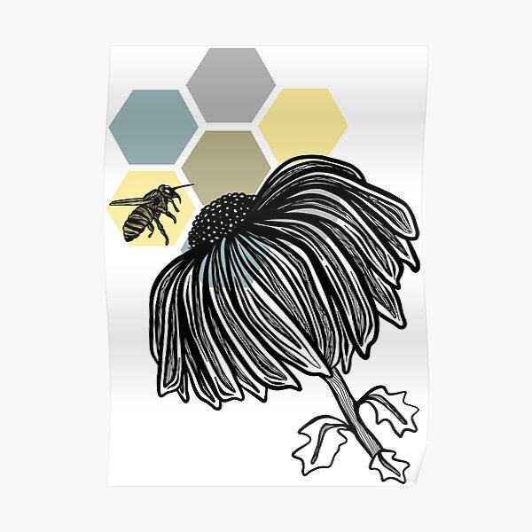 Bee Love on Hexagons Poster
