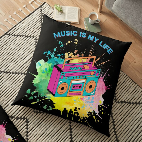 Music is my life, colorful music  Floor Pillow