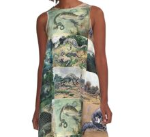 Vintage Dinosaur Illustrations A-Line Dress
